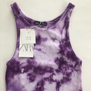 NEW Purple Tie Dye Zara Ribbed Crop Tank Top